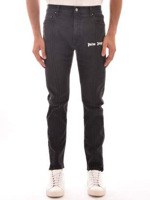 Palm Angels Jeans In Black With Logo