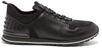 Tod's Low Top Leather And Neoprene Trainers - Mens - Black