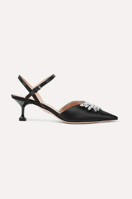 Miu Miu Crystal-embellished Satin Slingback Pumps - Black