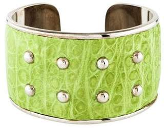 Tod's Alligator Embossed Leather Cuff