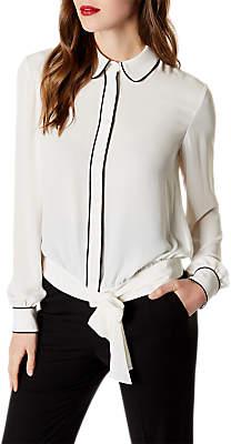 Karen Millen Tie Waist Piped Shirt, Ivory