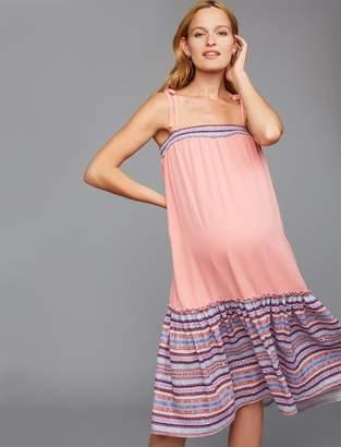 A Pea in the Pod Border Print Maternity Dress