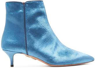 Aquazzura Quant 45 point-toe velvet ankle boots