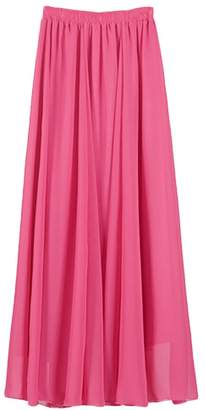 IBTOM CASTLE Women Elastic Pleated Retro Maxi Chiffon Long Ethereal Skater Flare Skirt Beach Dress S