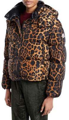 Moncler Caille Animal-Print Puffer Coat w/ Removable Hood