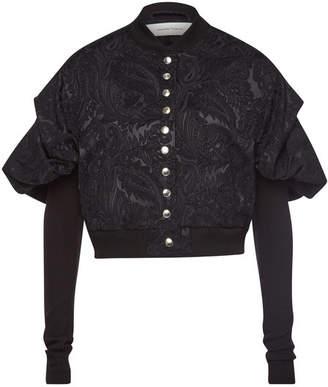 Marques Almeida Marques' Almeida Cropped Jacquard Blazer with Puffed Shoulders