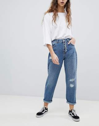Asos Design Relaxed Boyfriend Jeans In Mid Wash Blue