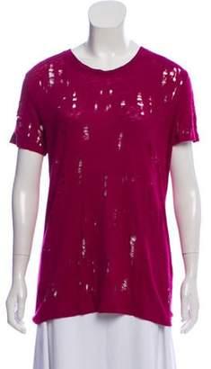 IRO Distressed Linen T-Shirt Pink Distressed Linen T-Shirt
