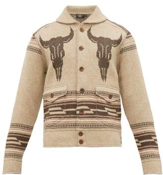 Ralph Lauren RRL Shawl Collar Western Jacquard Jacket - Mens - Brown Multi