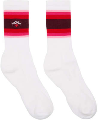 Noah NYC White and Red Gradient Stripe Socks