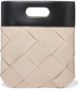 Bottega Veneta Slip Intrecciato Linen And Leather Tote - Beige