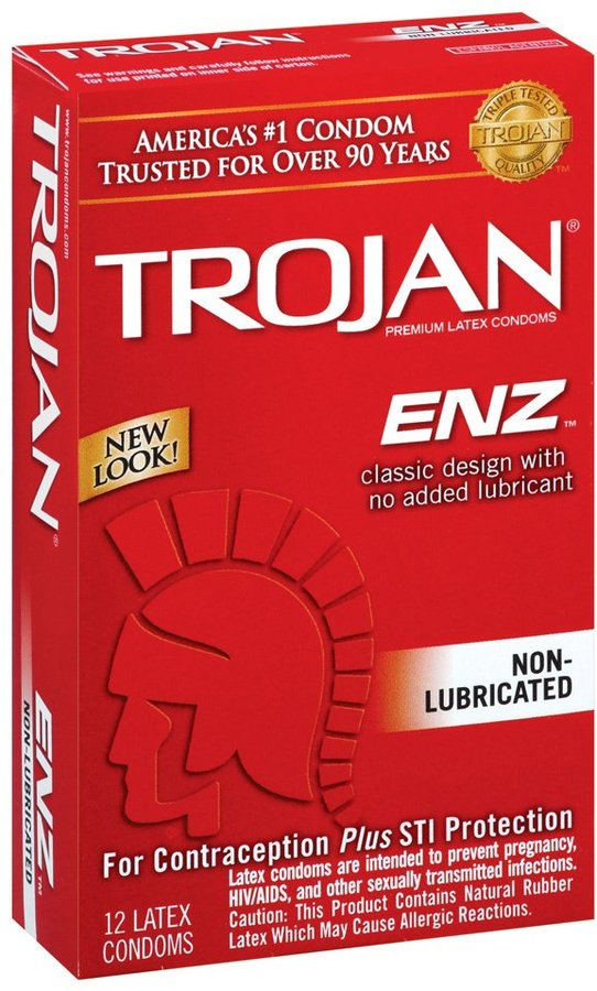 Trojan-Enz Non-Lubricated Latex Condoms-12 ct