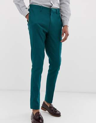 Asos Design DESIGN wedding super skinny suit pants in teal linen