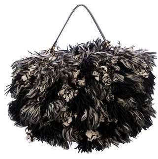 Diane von Furstenberg Raffia Fringe Satchel Bag