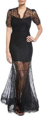 Brock Collection Dorrie Deep-V Chantilly Lace Evening Gown