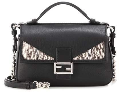 Fendi Double Micro Baguette snakeskin-embellished leather shoulder bag