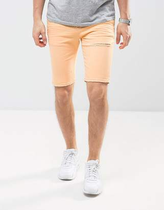 Asos DESIGN Denim Shorts In Super Skinny Peach With Rips