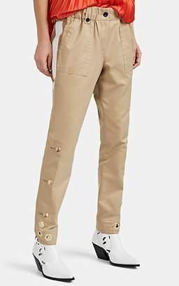 Sacai Women's Grosgrain-Trimmed Mixed-Media Trousers - Beige, Tan