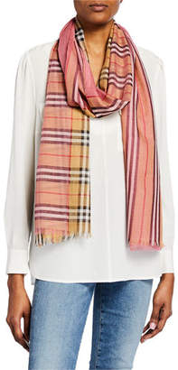 Burberry Colorblock Vintage Check Gauze Scarf