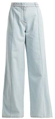 Marni High Rise Flared Denim Jeans - Womens - Light Blue