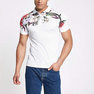 River Island White muscle fit floral mesh polo shirt