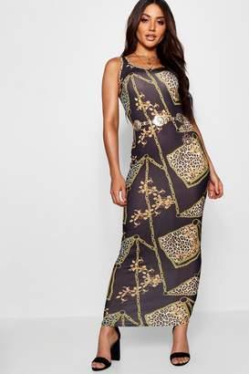boohoo Leopard + Chain Print Maxi Dress
