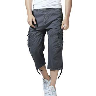 Minghe Men's Relaxed Fit Long Cargo Shorts Capri Pants