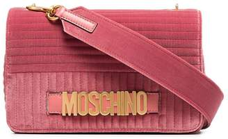 Moschino pink quilted logo velvet shoulder bag