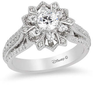 Zales Enchanted Disney Elsa 1 CT. T.W. Diamond Snowflake Frame Engagement Ring in 14K White Gold