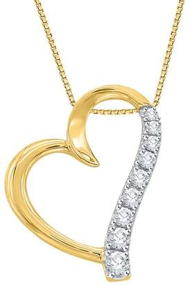 KATARINA Graduating Diamond Heart Pendant Necklace in 14K Yellow Gold (1/4 cttw) (Color , Clarity I1-I2)