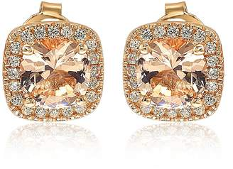 Suzy Levian Jewelry Cushion Cut Morganite CZ Halo Stud Earrings