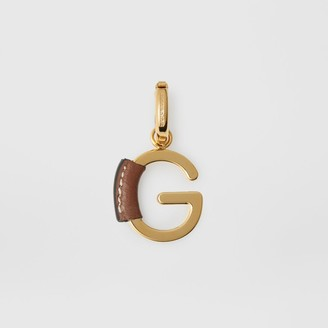 Burberry Leather-wrapped 'G' Alphabet Charm, Brown