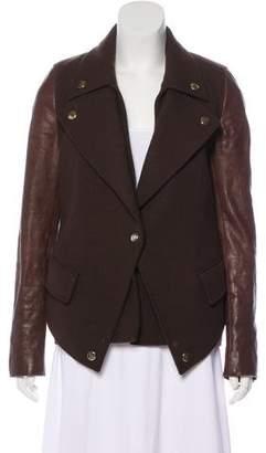 Givenchy Wool Leather-Paneled Jacket