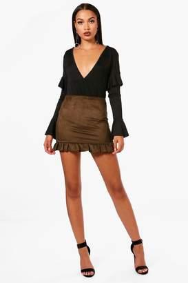 boohoo Crepe Frill Hem Skirt