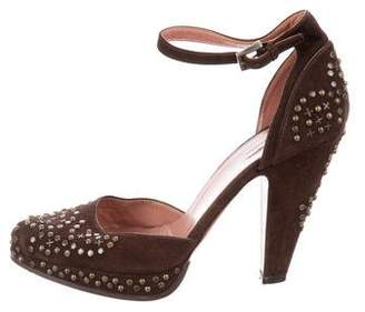 Alaia Studded Suede Pumps
