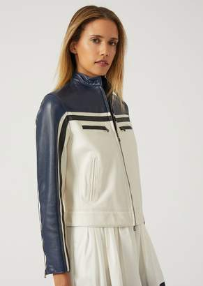 Emporio Armani Biker Jacket In Drummed Nappa Leather