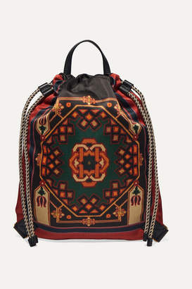 Etro Leather-trimmed Printed Shell Backpack - Green