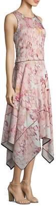 Donna Karan Women's Sleeveless Hi-Lo Floral-Print Dress