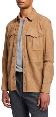 Ralph Lauren Barron Suede Shirt Jacket, Taupe