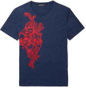 Alexander McQueen Embroidered Cotton-Jersey T-Shirt