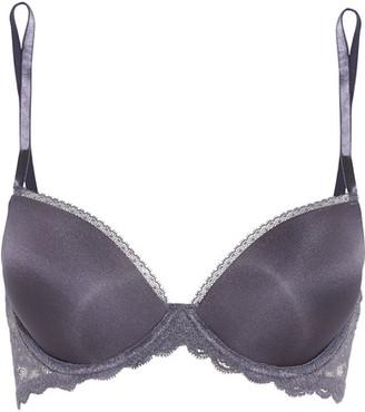 Calvin Klein Underwear - Seductive Comfort Lace-trimmed Satin Contour Bra - Anthracite $45 thestylecure.com