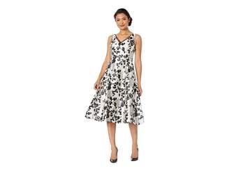 Adrianna Papell Floral Metallic Jacquard Tea-Length Dress