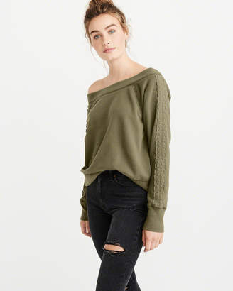 Abercrombie & Fitch Off-The-Shoulder Crew Sweatshirt