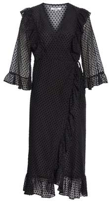 Ganni Swiss Dot Tulle Wrap Dress