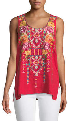 Johnny Was Vella Embroidered Tank, Plus Size