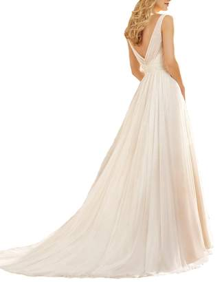 Venus Bridal Simple A-Line Sleeveless Bride Wedding Dresses Tulle Pleats Train Bridal Dress US