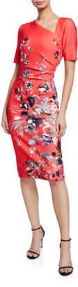 Rickie Freeman For Teri Jon Floral-Print Short-Sleeve Asymmetric Scuba Dress