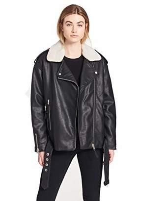 Levi's Women's Faux Leather Oversized Sherpa Lined Motorcycle Jacket