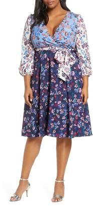 1901 Colorblock Floral Faux Wrap Dress