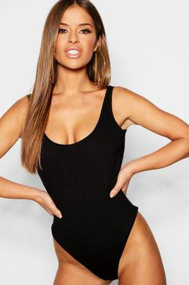 boohoo Petite Rib Knit Sleeveless Bodysuit